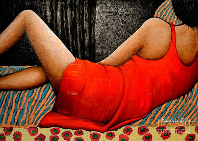 Obama Painting - Donna In Rosso  by Riccardo Maffioli