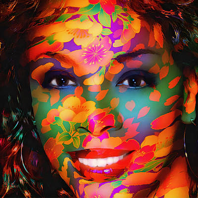 Donna Summer Digital Art - Donna Summer Flower Portrait  by Yury Malkov