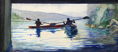 Painting - Donner Lake Kayaks by Rick Mosher