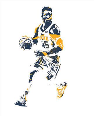 Utah Jazz Wall Art - Mixed Media - Donovan Mitchell Utah Jazz Pixel Art 25 by Joe Hamilton
