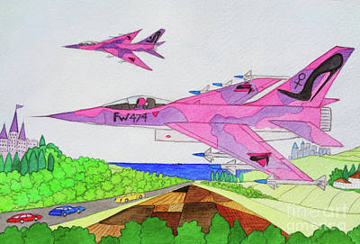 Painting - Donpedrodegracialand Air Combat Fighters by Don Pedro De Gracia