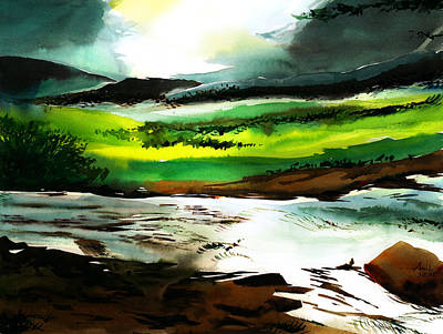 Abstract Beach Landscape Drawing - Don't Go Back To Town by Anil Nene