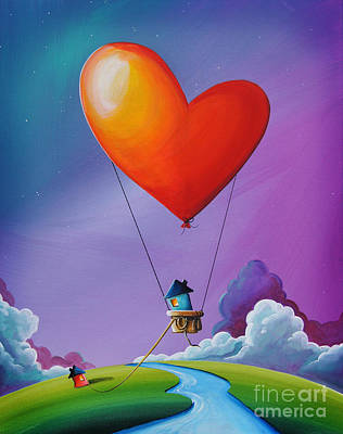 Hot Air Balloon Painting - Don't Let Love Slip Away by Cindy Thornton