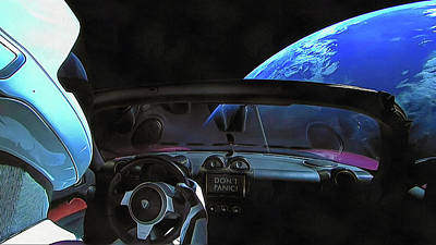 Photograph - Dont Panic - Tesla In Space by SpaceX