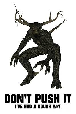 Monster Digital Art - Don't Push It by Esoterica Art Agency