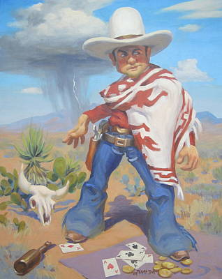 Poncho Painting - Don't Slap Leather With The Pecos Kid by Texas Tim Webb