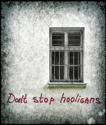 Window Signs Photograph - Don't Stop Hooligans by Evelina Kremsdorf