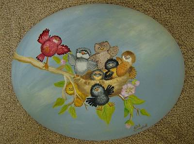 Painting - Don't Worry Be Happy Birds by Debra Campbell