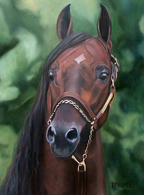 Horses Portrait Painting - Dont Worry Saddlebred Sire by Donna Thomas