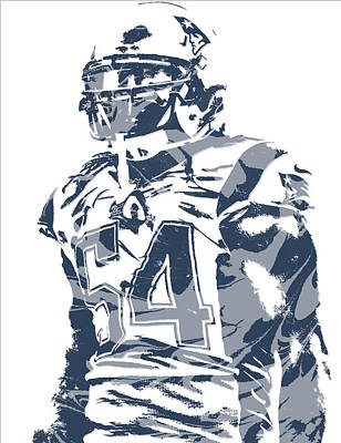 News Mixed Media - Donta Hightower New England Patriots Pixel Art 2 by Joe Hamilton