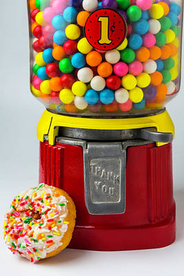 Donut And Bubblegum Machine Art Print by Garry Gay