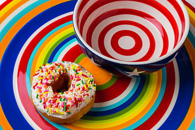 Donut Blowl And Plate Art Print by Garry Gay