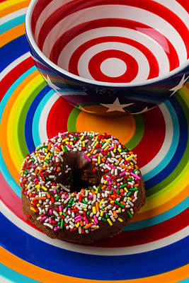 Bakery Photograph - Donut On Circle Plate by Garry Gay