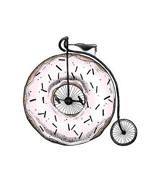 Drawing - Donut Ride My Bicycle by Barlena