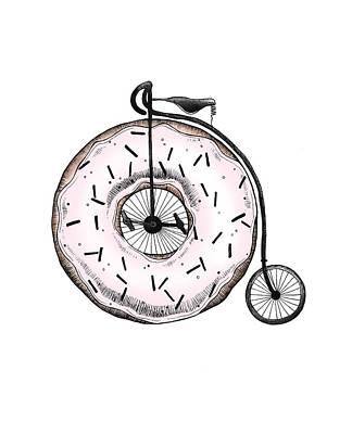 Donuts Drawing - Donut Ride My Bicycle by Barlena