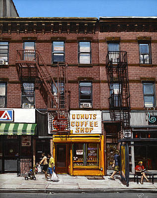 Park Scene Painting - Donut Shop by Ted Papoulas