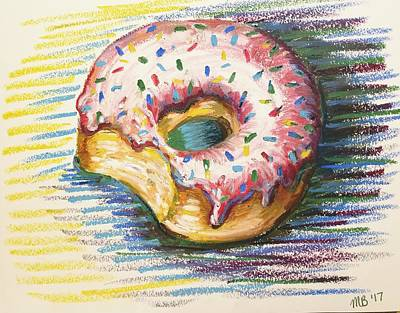 Donuts Drawing - Donut With Strawberry Frosting And Sprinkles  by Melissa Brazeau