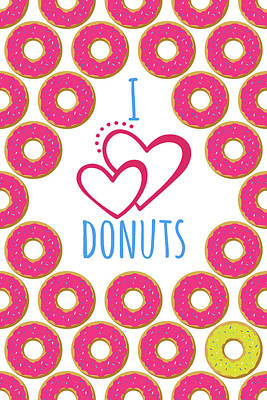 I Love Donuts Poster. Creative Illustration For Greeting Cards, Banners, Posters Or Wallpapers Art Print
