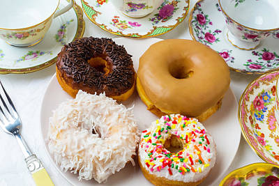 Donuts And Tea Cups Art Print by Garry Gay