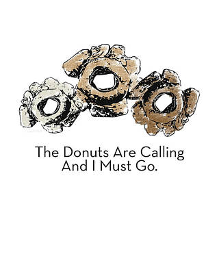 Funny Mixed Media - Donuts Calling- Art By Linda Woods by Linda Woods