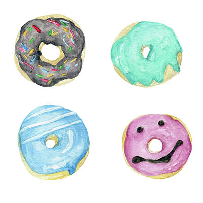 Donuts Painting - Donuts by Olena Zhabko