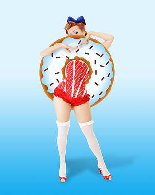 Strawberries Digital Art - Donuts Woman by Mark Ashkenazi