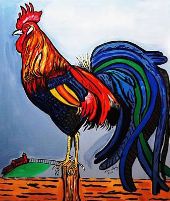 Doodle  Dum  Rooster Art Print