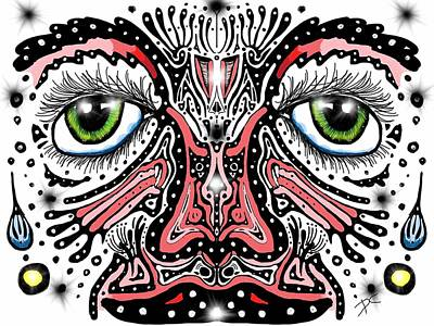 Digital Art - Doodle Face by Darren Cannell