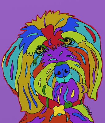 Dog Jewelry Painting - Doodle Love by Patti Siehien