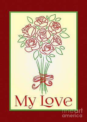 Digital Art - Doodle Rose Bouquet by JH Designs