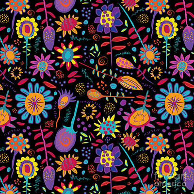 Pattern Painting - Doodlefest Flowers by Darlene Seale