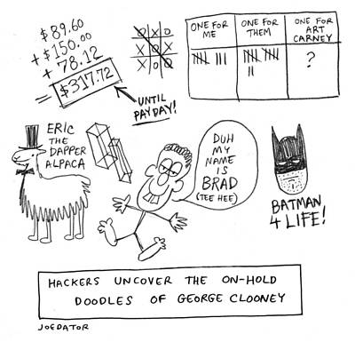 Drawing - Doodles Of George Clooney by Joe Dator