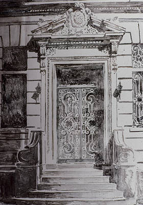 Entrance Door Drawing - Door by Anthony Butera