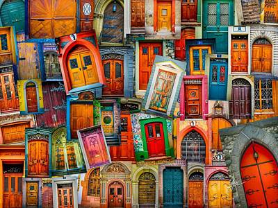 Photograph - Door Collage Mashup by TK Goforth