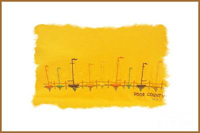 Art Print featuring the mixed media Door County Sail Boats by Marsha Heiken