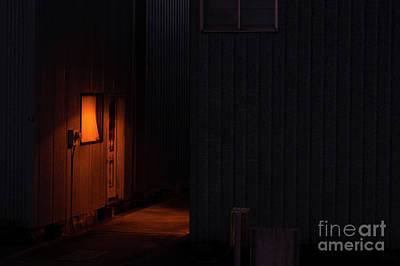 Photograph - Door Illuminated By Interior Lamp by Jim Corwin