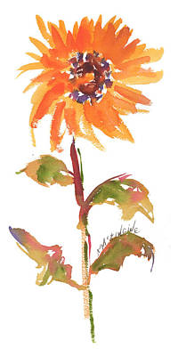 Door Keeper Sunflower Watercolor Painting By Kmcelwaine Art Print by Kathleen McElwaine