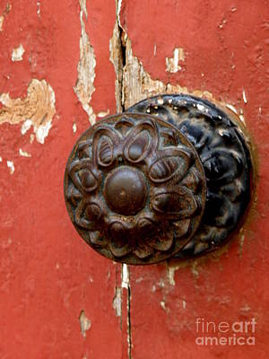 Door Knob On Red Door Art Print