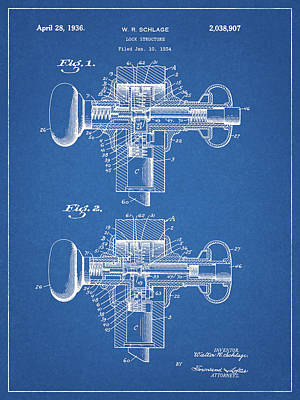 Drawing - Door Lock Patent Design by Dan Sproul