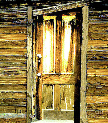 Digital Art - Door Of Old Wooden Miner's Shack In Colorado by Merton Allen