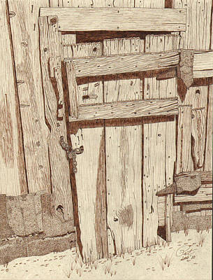 Sepia Ink Drawing - Door To The Past by Pat Price