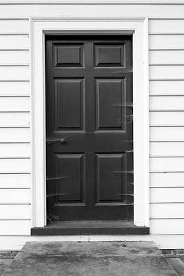 Photograph - Door With Cobwebs In Black And White by Brooke T Ryan