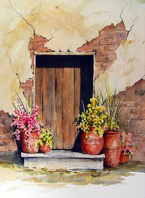 Pottery Painting - Door With Pots by Sam Sidders