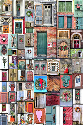 Photograph - Doors Collage Vertical 2 by Janice Drew