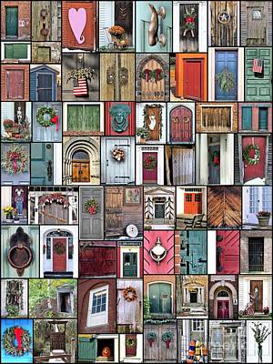 Photograph - Doors Collage Vertical  by Janice Drew