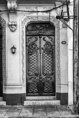 Doors Of Cuba Yellow Door Bw Art Print
