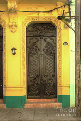 Becky Photograph - Doors Of Cuba Yellow Door by Wayne Moran
