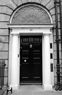 Photograph - Doors Of Dublin Georgian Style Black With Roman Columns Ireland Black And White by Shawn O'Brien