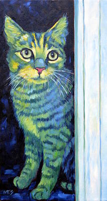 Painting - Doorway Cat by Rebecca Ives