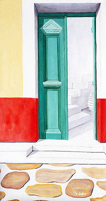 Painting - Doorway To Mykonos - Prints Of Original Oil Painting by Mary Grden Fine Art Oil Painter Baywood Gallery